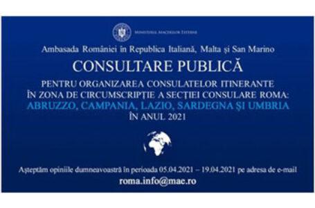 """Ambasada României în Italia, consulate itinerante: """"Vrem să decidem împreună când și unde îți putem fi de ajutor"""""""